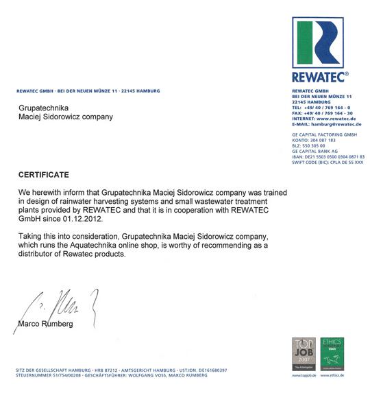 Aquatechnika dystrybutor Rewatec certyfikat